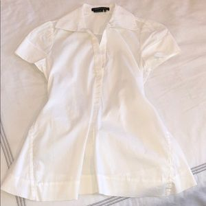 BCBG Maxazaria Cap Sleeve White Tie-Back Blouse